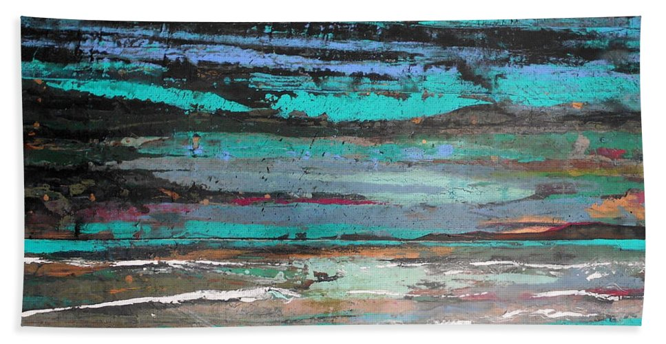 Abstract Bath Sheet featuring the painting You Light My Way Quadritypch 1 Of 4 by Angie Wright