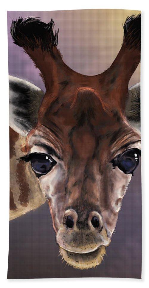 Giraffe Bath Sheet featuring the digital art You Looking At Me by Andrew Reinhart