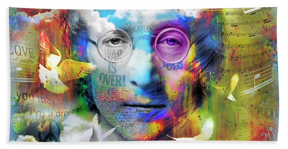 Lennon Hand Towel featuring the digital art You May Say I'm A Dreamer by Mal Bray