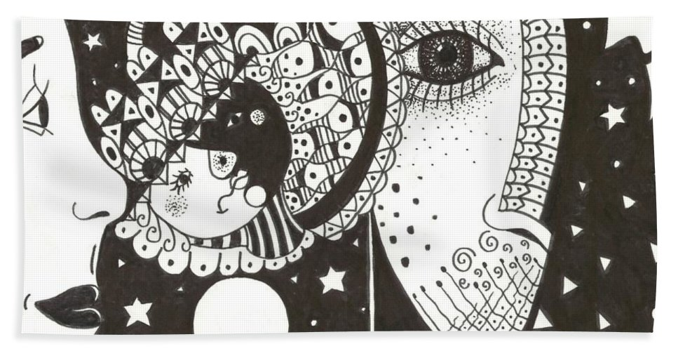 Ethereal Hand Towel featuring the drawing You Me The Stars And The Moon by Helena Tiainen