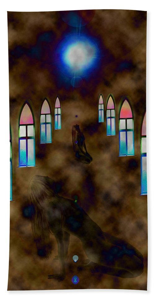 Woman Pray Nude Adult Stained Glass Windows Naked Star Conceptual Hand Towel featuring the photograph You Pray For by Andrea Lawrence