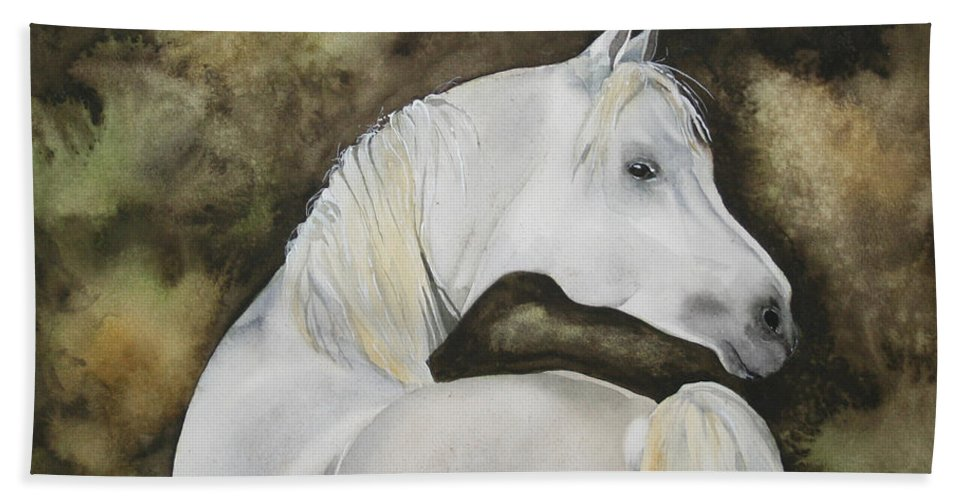 Horse Hand Towel featuring the painting You Talking To Me by Jean Blackmer