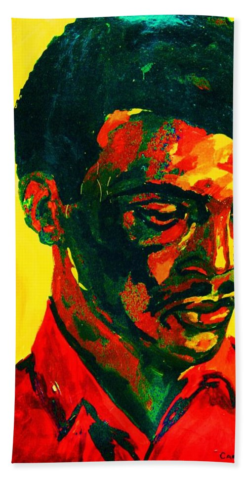 Africa Hand Towel featuring the painting Young African Man by Carole Spandau