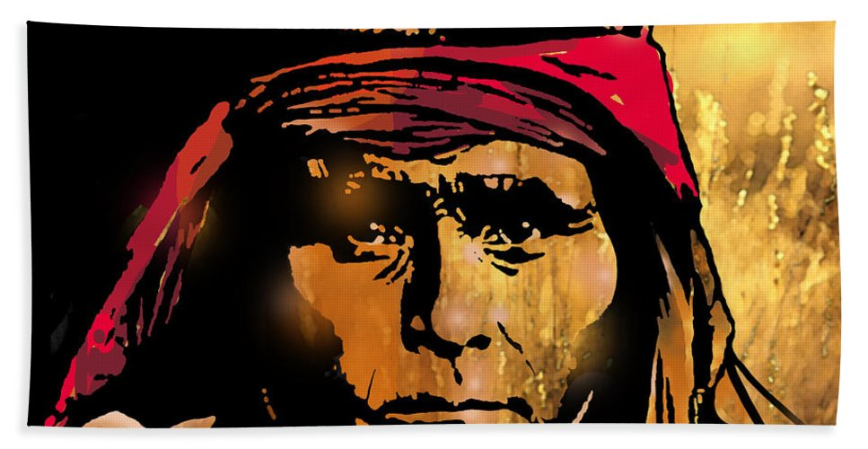 Native Americans Bath Sheet featuring the painting Young Apache Brave by Paul Sachtleben