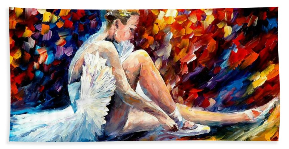 Dancer Bath Sheet featuring the painting Young Ballerina by Leonid Afremov