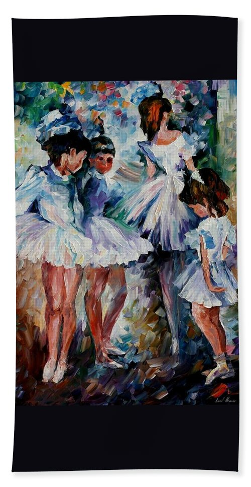 Afremov Hand Towel featuring the painting Young Ballerinas by Leonid Afremov