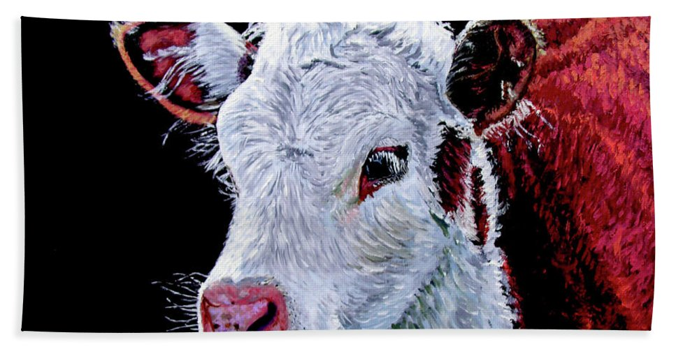 Calf Hand Towel featuring the painting Young Bull by Stan Hamilton