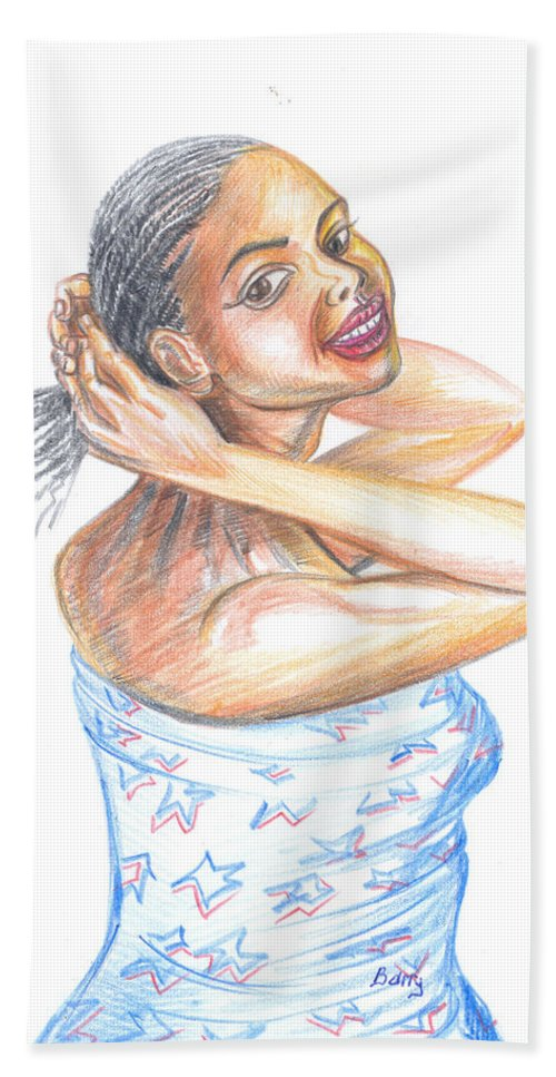 Portraits Hand Towel featuring the painting Young Cameroun Woman Tying Her Hair by Emmanuel Baliyanga