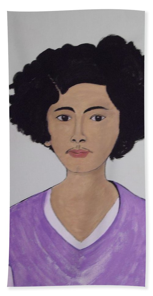 Frida Kahlo Hand Towel featuring the painting Young Frida by Stephanie Moore