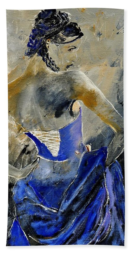Girl Bath Sheet featuring the painting Young Girl 450150 by Pol Ledent