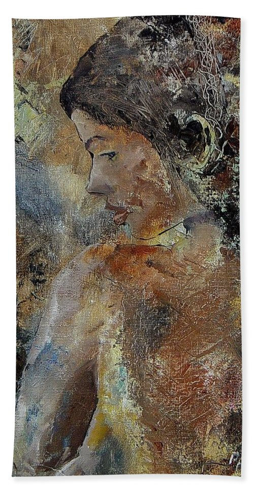 Girl Hand Towel featuring the painting Young Girl 45156987 by Pol Ledent