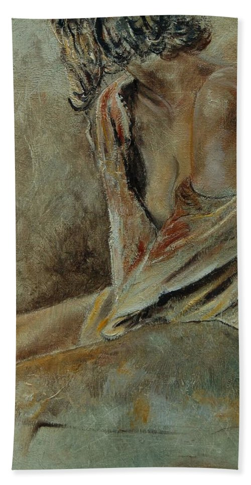 Gir Bath Sheet featuring the painting Young Girl 45905040 by Pol Ledent