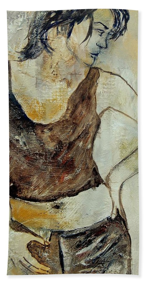 Nude Hand Towel featuring the painting Young Girl 459070 by Pol Ledent