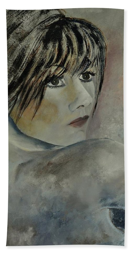 Nude Hand Towel featuring the painting Young Girl 561110 by Pol Ledent