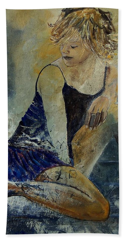 Nude Hand Towel featuring the painting Young Girl 5689474 by Pol Ledent