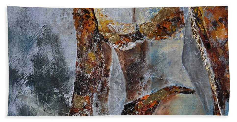 Girl Bath Sheet featuring the painting Young Girl 670508 by Pol Ledent