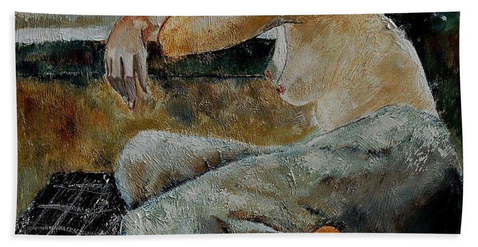 Girl Hand Towel featuring the painting Young Girl 679050 by Pol Ledent