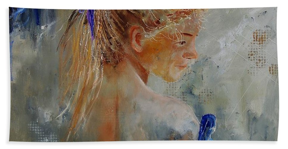 Gir Hand Towel featuring the painting Young Girl 78 by Pol Ledent