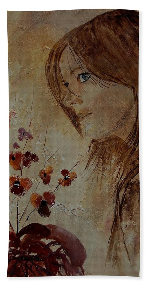 Girl Bath Sheet featuring the painting Young Girl And Flowers by Pol Ledent