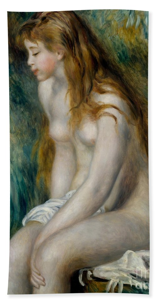 Renoir Hand Towel featuring the painting Young Girl Bathing, 1892 by Pierre Auguste Renoir