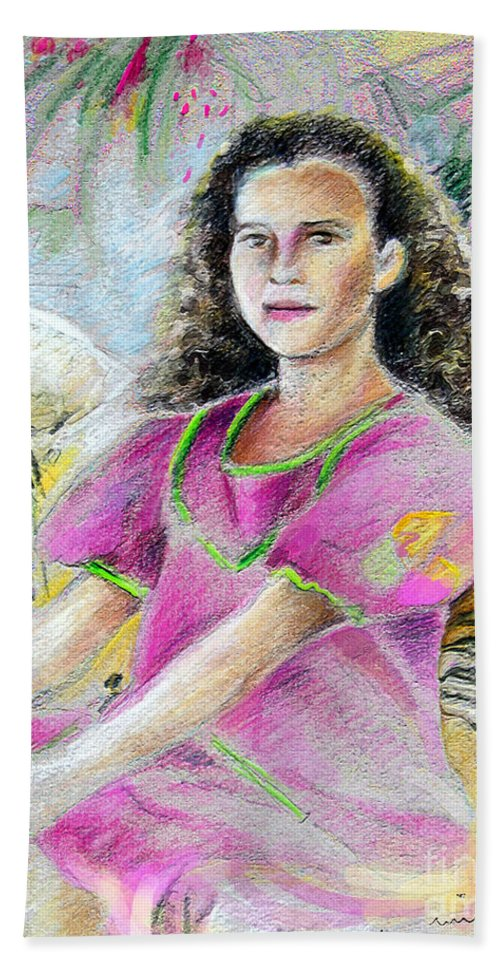 Younf Girl From Tahiti Portrait Bath Sheet featuring the painting Young Girl From Tahiti by Miki De Goodaboom