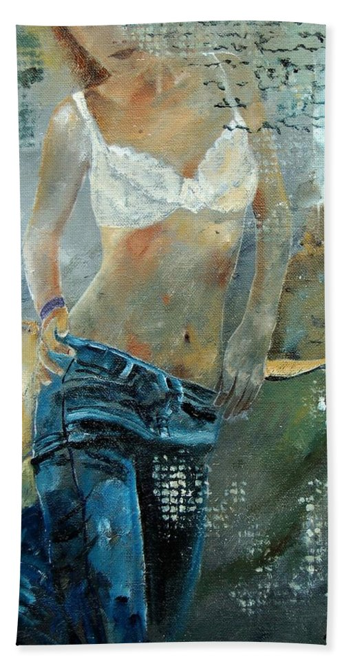 Girl Hand Towel featuring the painting Young Girl In Jeans by Pol Ledent