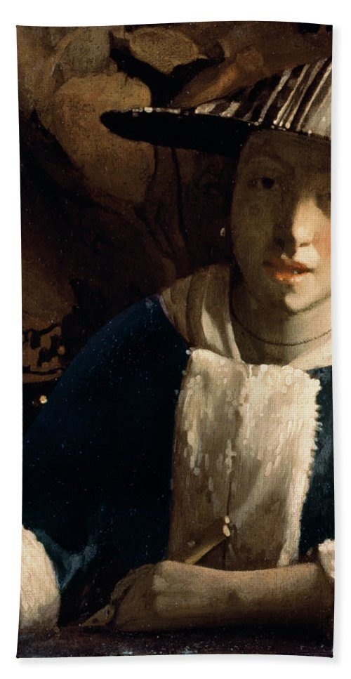 Vermeer Hand Towel featuring the painting Young Girl With A Flute by Jan Vermeer