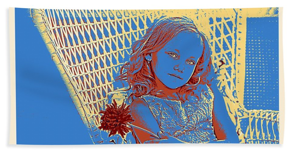Girl Bath Sheet featuring the painting Young Girl With Blue Eyes by Adam Asar