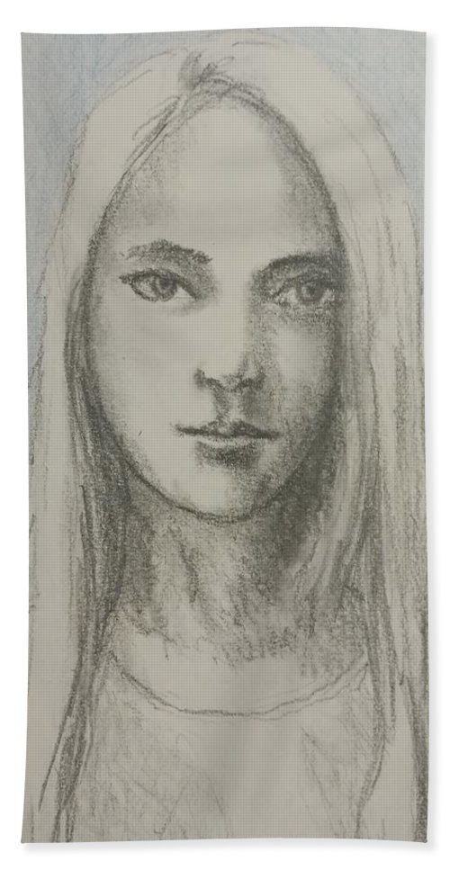 Portrait Hand Towel featuring the drawing Young Girl With Long Hair by Satpal Kalsi