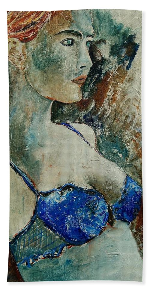 Nude Bath Towel featuring the painting Young Lady 56 by Pol Ledent