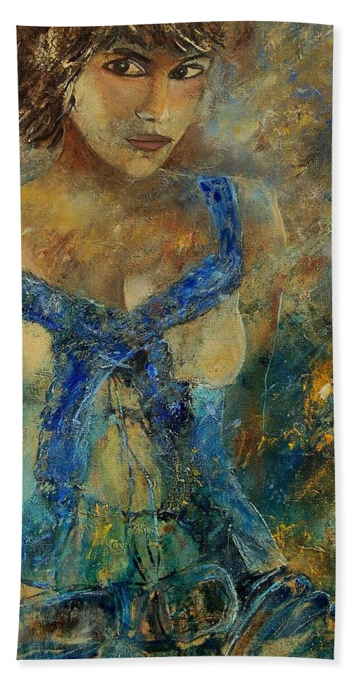 Girl Hand Towel featuring the painting Young Lady 5698 by Pol Ledent