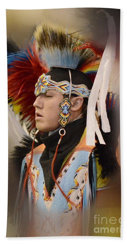 Pow Wow Bath Sheet featuring the photograph Pow Wow Young Man by Bob Christopher