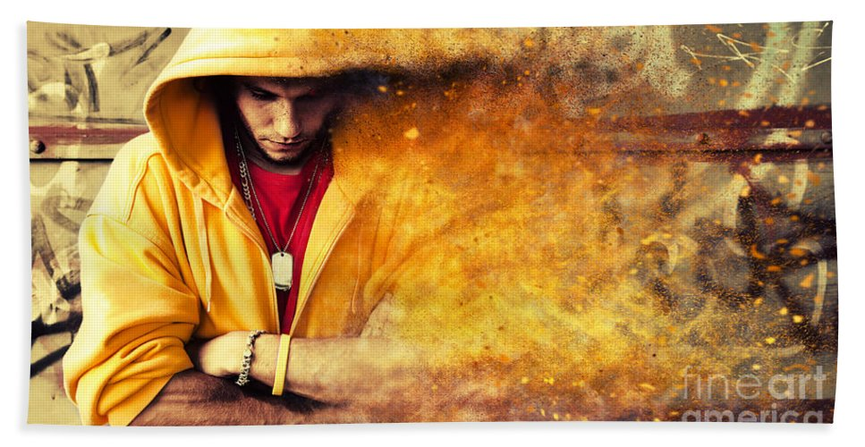 Grunge Bath Sheet featuring the photograph Young Man In Hooded Sweatshirt On Grunge Wall by Michal Bednarek