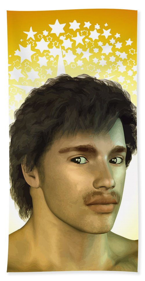Mustache Hand Towel featuring the digital art Young Man by Joaquin Abella
