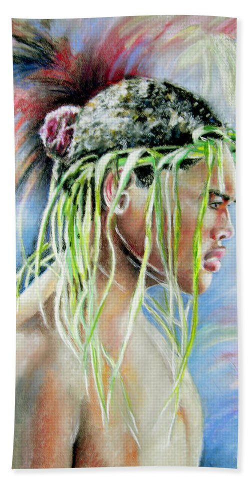 Maori Hand Towel featuring the painting Young Maori Warrior by Miki De Goodaboom