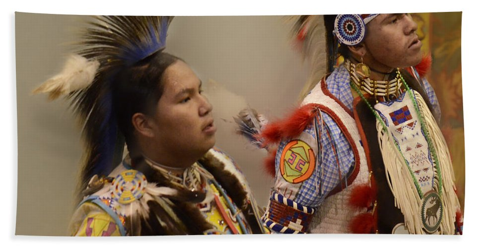 Pow Wow Bath Sheet featuring the photograph Pow Wow Young Men by Bob Christopher