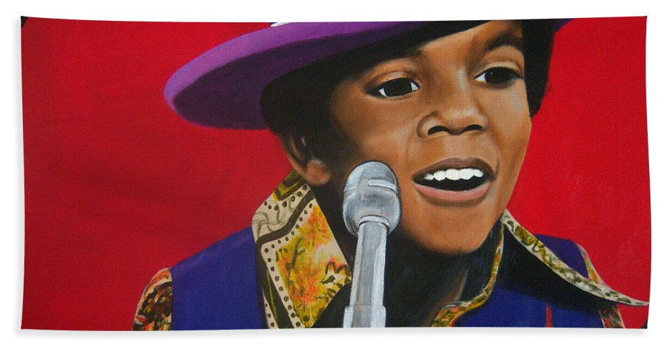 Prodigy Hand Towel featuring the painting Young Michael Jackson Singing by Chelle Brantley