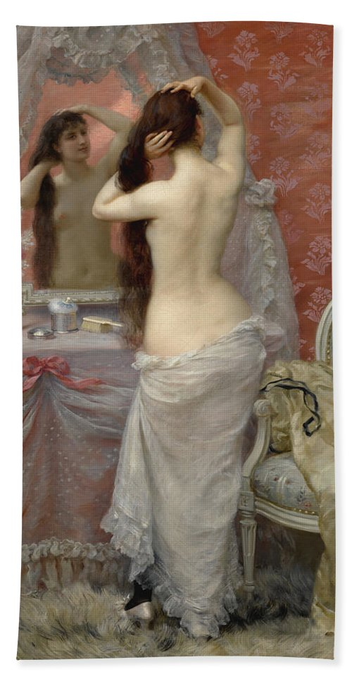 Jean Andre Rixens Bath Sheet featuring the painting Young Nude Woman Styling In An Interior by Jean Andre Rixens