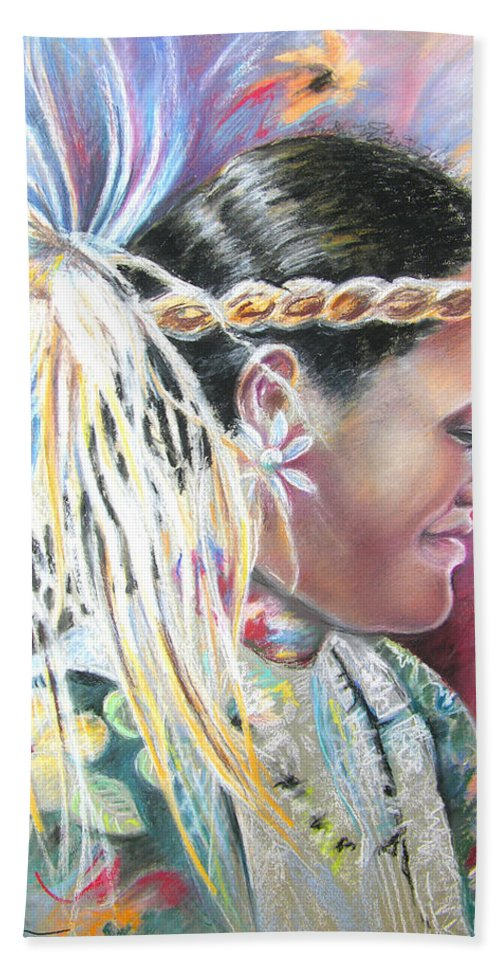 French Polynesia Bath Sheet featuring the painting Young Polynesian Mama by Miki De Goodaboom