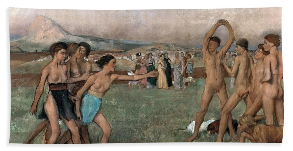 Young Spartans Exercising Bath Sheet featuring the painting Young Spartans Exercising by Edgar Degas