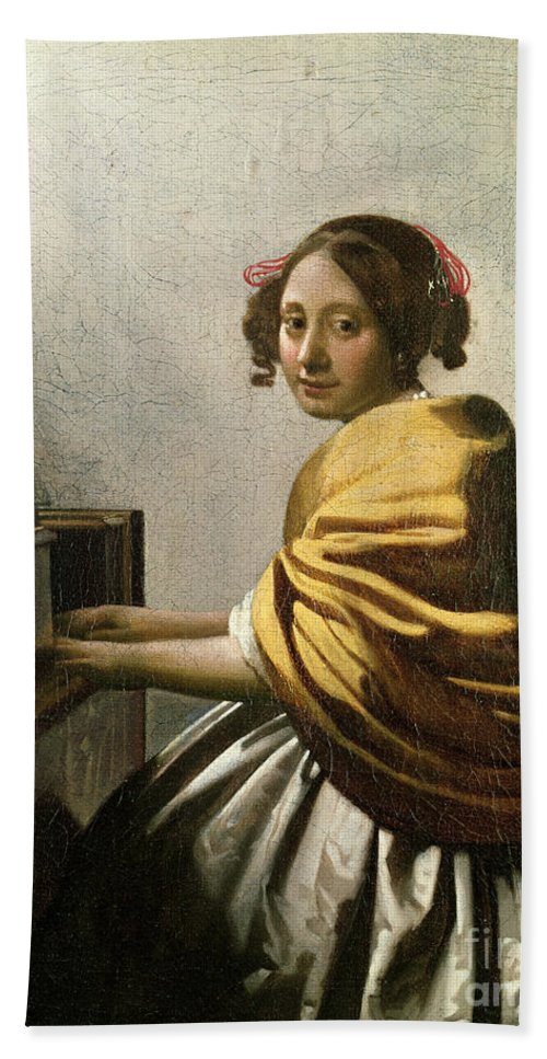 Young Woman At A Virginal (oil On Canvas) By Jan Vermeer (1632-75) Bath Sheet featuring the painting Young Woman At A Virginal by Jan Vermeer