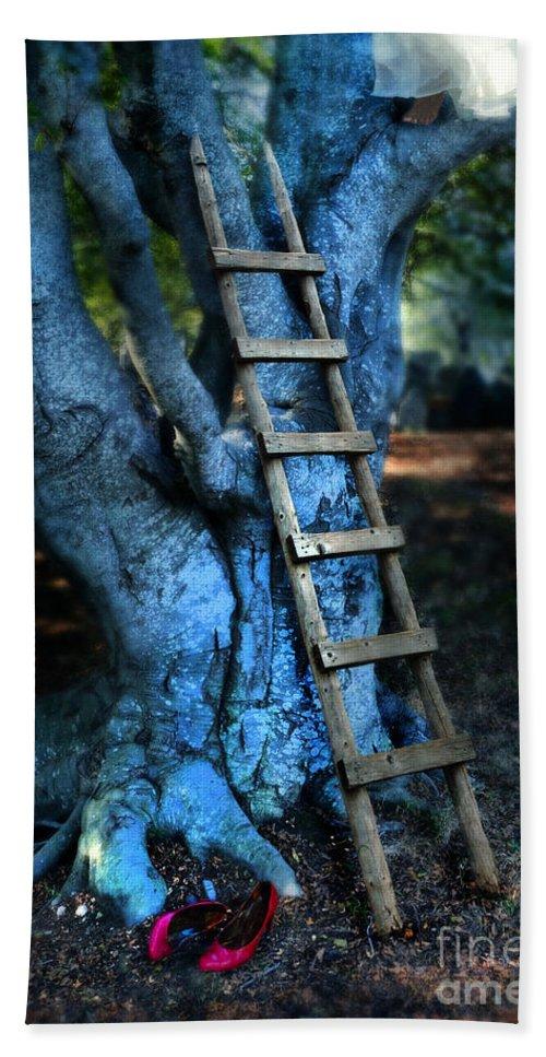 Girl Bath Sheet featuring the photograph Young Woman Climbing A Tree by Jill Battaglia