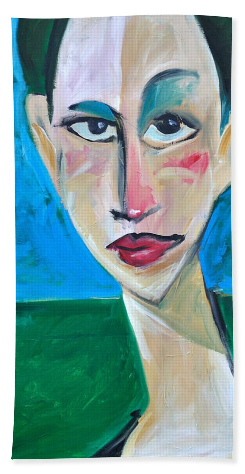 Woman Bath Towel featuring the painting Young Woman Green Field by Tim Nyberg