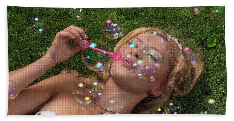 Fun Bath Sheet featuring the photograph Young Woman Having Fun In Summer by Oleksiy Maksymenko