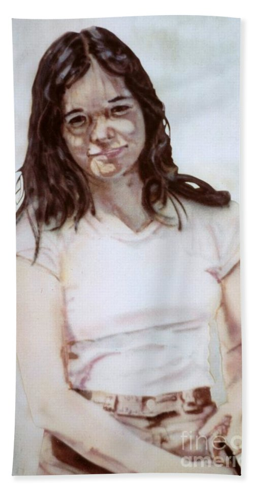 Portrait Bath Towel featuring the painting Young Woman by Ron Bissett
