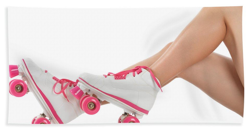 Roller Skates Hand Towel featuring the photograph Young Woman Wearing Roller Derby Skates by Oleksiy Maksymenko