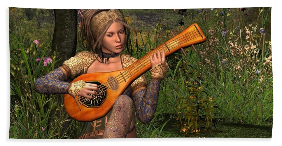 Fantasy Hand Towel featuring the digital art Young Women Playing The Lute by John Junek