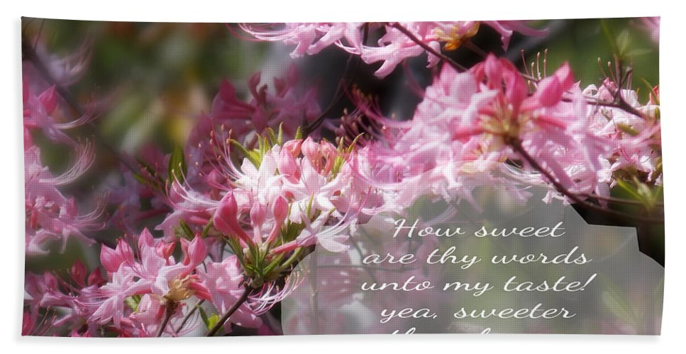 Your Sweet Words Bath Sheet featuring the photograph Sweet Words - Verse by Anita Faye