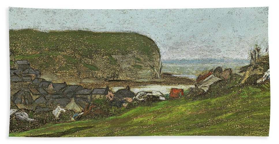 Claude Monet Bath Sheet featuring the drawing Yport And The Falaise D'aval by Claude Monet