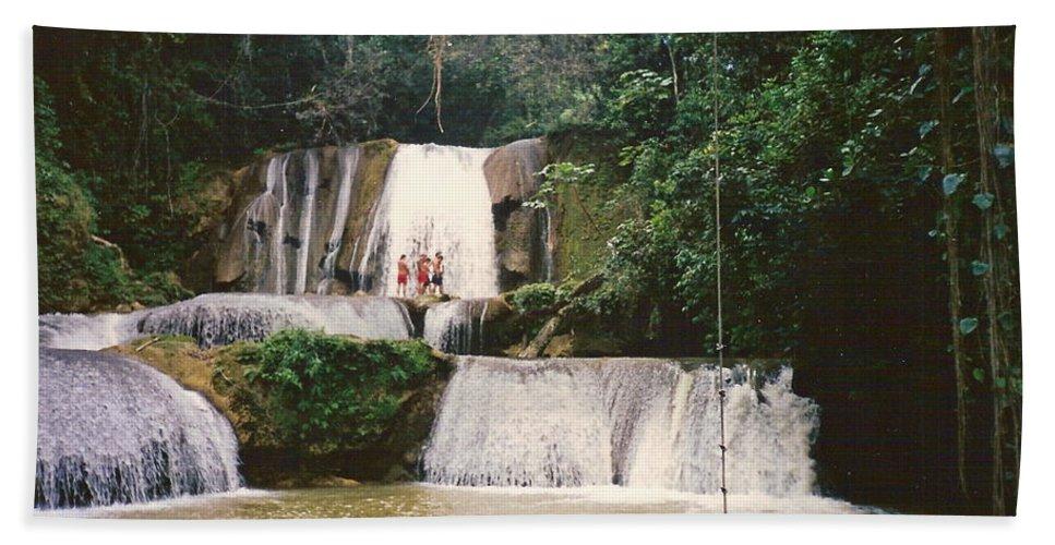 Jamaica Hand Towel featuring the photograph Ys Falls Jamaica by Debbie Levene